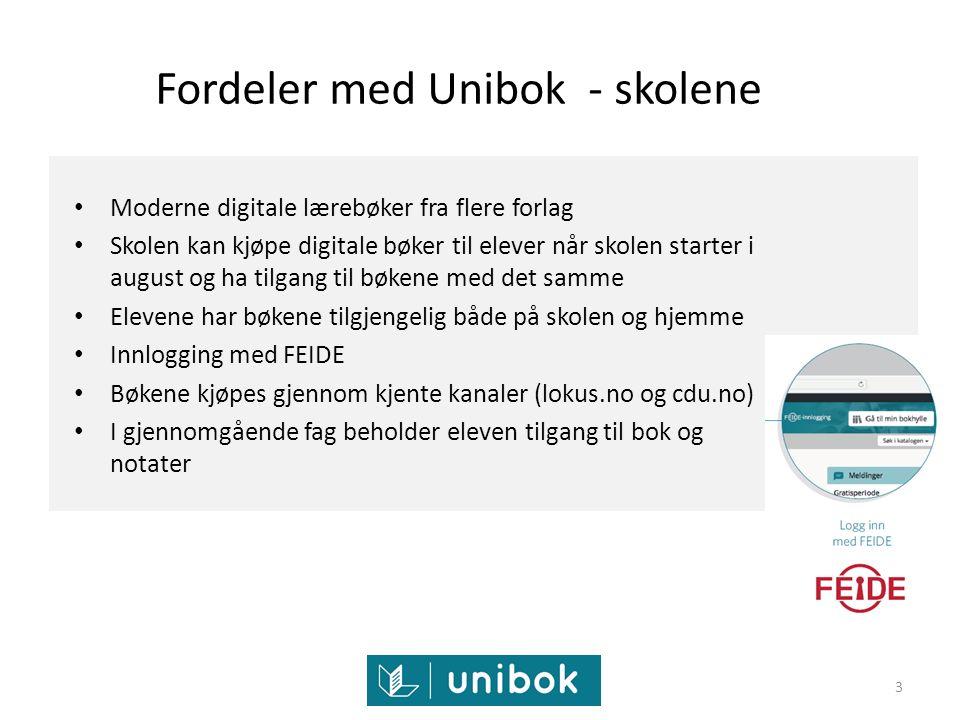 Fordeler med Unibok - skolene Moderne digitale lærebøker fra flere forlag Skolen kan kjøpe digitale bøker til elever når skolen starter i august og ha