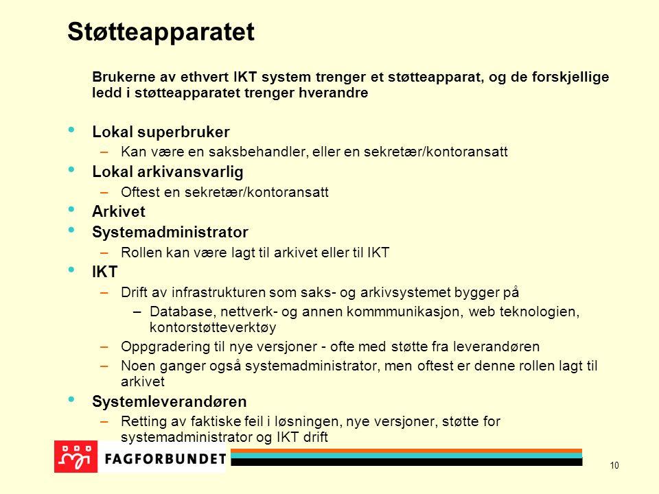 10 Støtteapparatet Brukerne av ethvert IKT system trenger et støtteapparat, og de forskjellige ledd i støtteapparatet trenger hverandre Lokal superbru