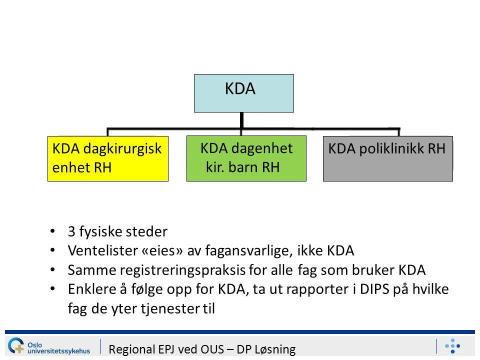 Regional EPJ ved OUS – DP Løsning KDA KDA dagkirurgisk enhet RH KDA dagenhet kir.
