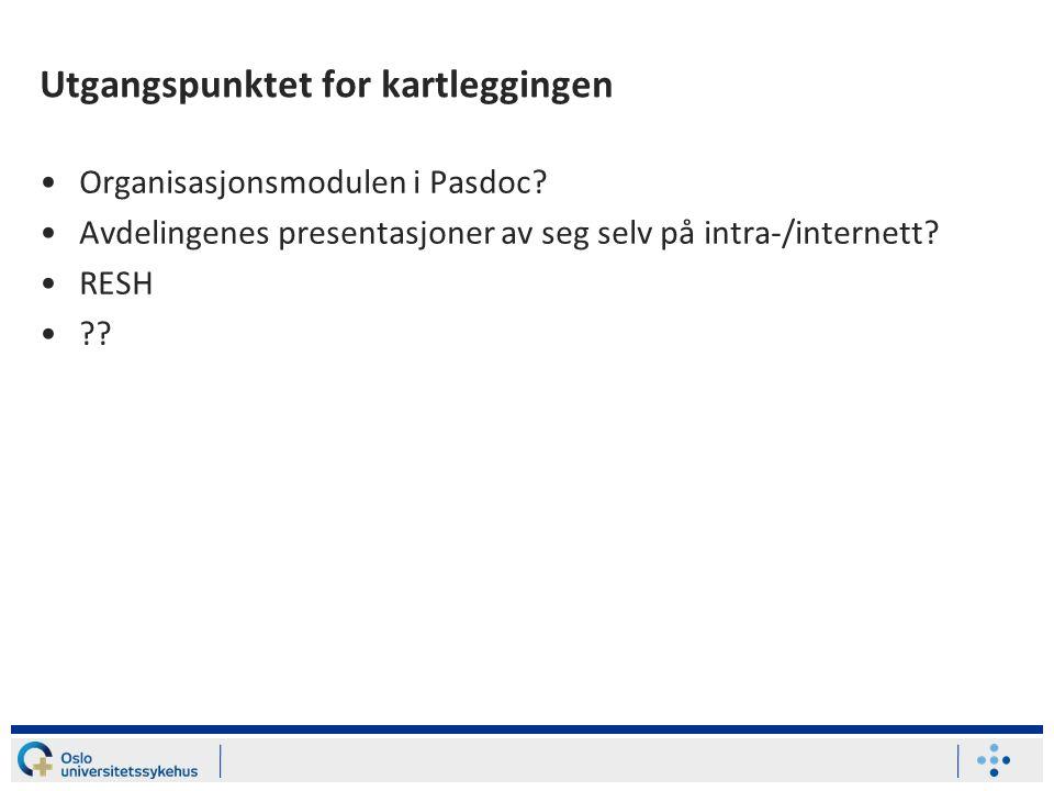 Utgangspunktet for kartleggingen Organisasjonsmodulen i Pasdoc.