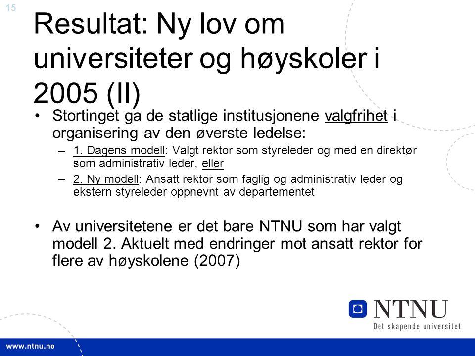 15 Resultat: Ny lov om universiteter og høyskoler i 2005 (II) Stortinget ga de statlige institusjonene valgfrihet i organisering av den øverste ledelse: –1.