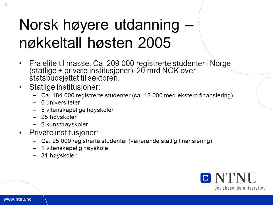 6 Norsk høyere utdanning – nøkkeltall høsten 2005 Fra elite til masse.