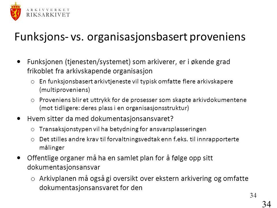 34 Funksjons- vs. organisasjonsbasert proveniens  Funksjonen (tjenesten/systemet) som arkiverer, er i økende grad frikoblet fra arkivskapende organis
