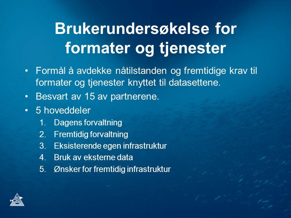 Brukerundersøkelse for formater og tjenester Formål å avdekke nåtilstanden og fremtidige krav til formater og tjenester knyttet til datasettene. Besva