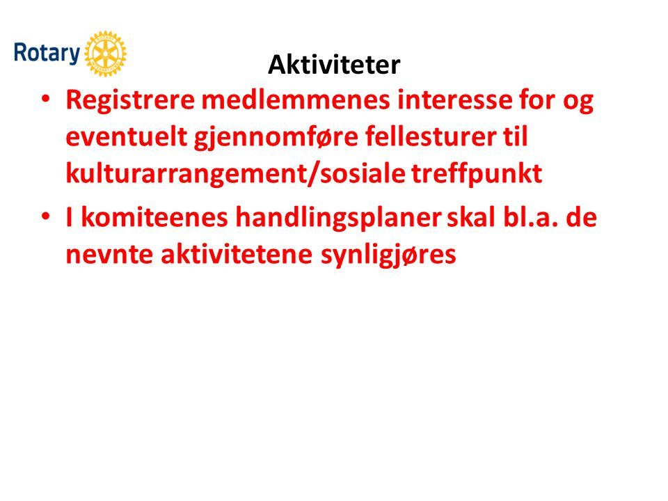 Aktiviteter Registrere medlemmenes interesse for og eventuelt gjennomføre fellesturer til kulturarrangement/sosiale treffpunkt I komiteenes handlingsp