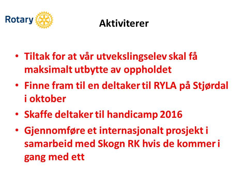 Tiltak for at vår utvekslingselev skal få maksimalt utbytte av oppholdet Finne fram til en deltaker til RYLA på Stjørdal i oktober Skaffe deltaker til
