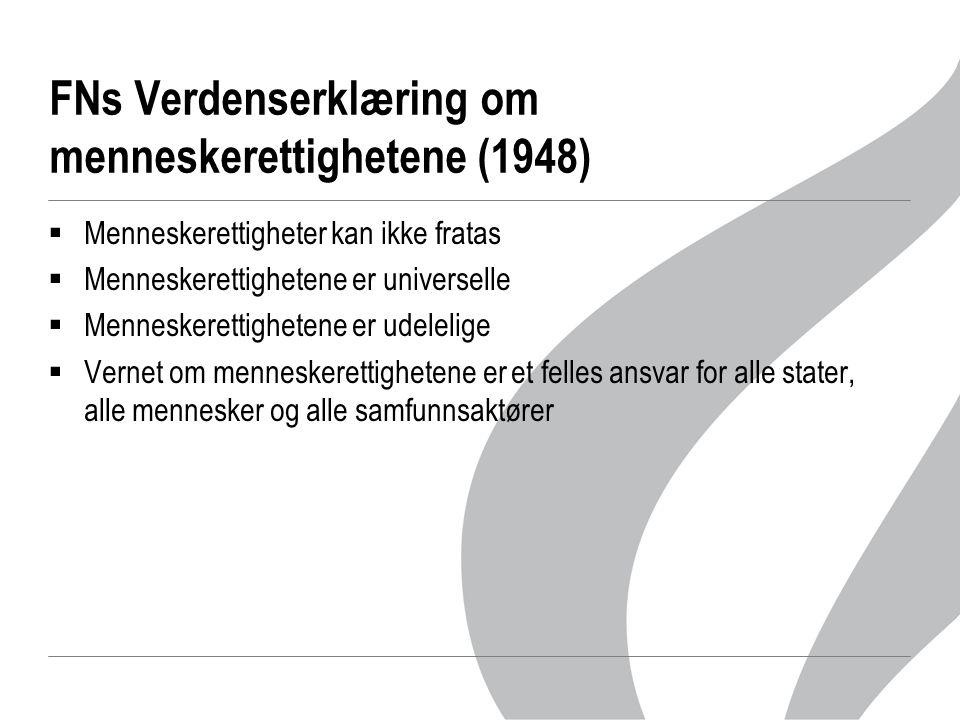 FNs Verdenserklæring om menneskerettighetene (1948)  Menneskerettigheter kan ikke fratas  Menneskerettighetene er universelle  Menneskerettighetene er udelelige  Vernet om menneskerettighetene er et felles ansvar for alle stater, alle mennesker og alle samfunnsaktører
