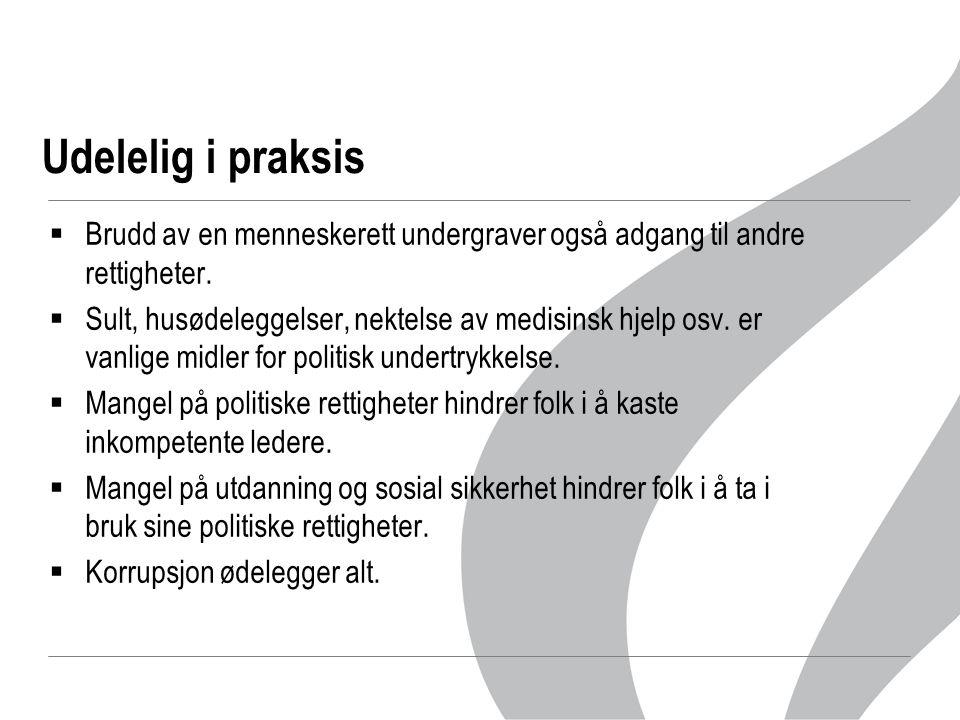 Menneskerettighetsvern i Norge  Grunnloven (1814-2006)  Europeisk menneskerettighetskonvensjon (EMK) (1953)  Europeisk mr-domstol (EMD) som høyeste domstol i mr-saker  Menneskerettsloven ('99) som innlemmer i norsk lov:  Europeisk mr-konvensjon  FN-konvensjon om økonomiske, sosiale og kulturelle rettigheter  FN-konvensjon om sivile og politiske rettigheter  Barnekonvensjonen  Kvinnekonvensjonen  Andre konvensjoner (av FN, ILO, Europarådet m.fl.)