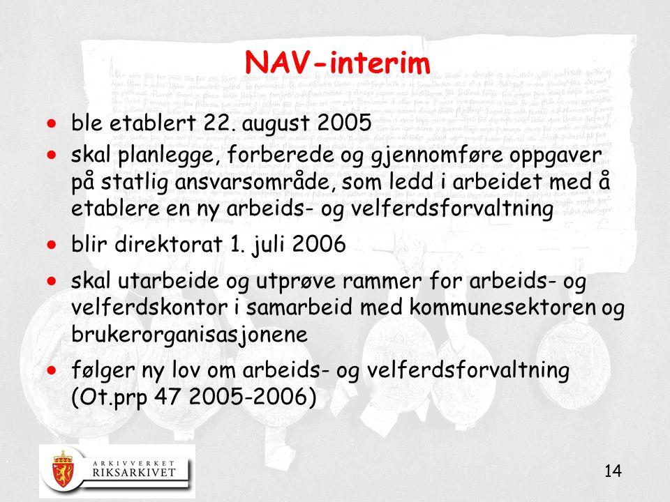 14 NAV-interim  ble etablert 22. august 2005  skal planlegge, forberede og gjennomføre oppgaver på statlig ansvarsområde, som ledd i arbeidet med å