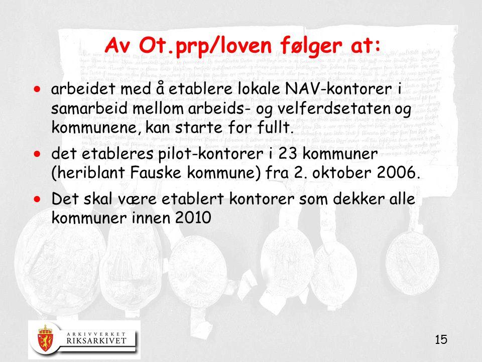 15 Av Ot.prp/loven følger at:  arbeidet med å etablere lokale NAV-kontorer i samarbeid mellom arbeids- og velferdsetaten og kommunene, kan starte for fullt.