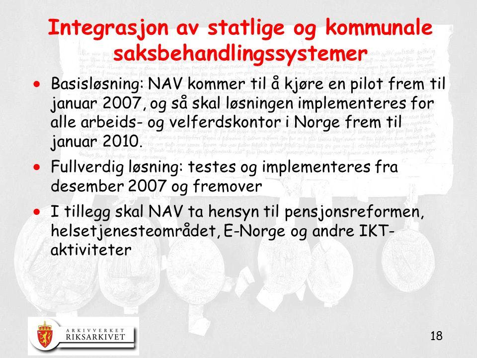 18 Integrasjon av statlige og kommunale saksbehandlingssystemer  Basisløsning: NAV kommer til å kjøre en pilot frem til januar 2007, og så skal løsni