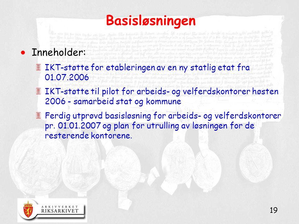 19 Basisløsningen  Inneholder: 3IKT-støtte for etableringen av en ny statlig etat fra 01.07.2006 3IKT-støtte til pilot for arbeids- og velferdskontor