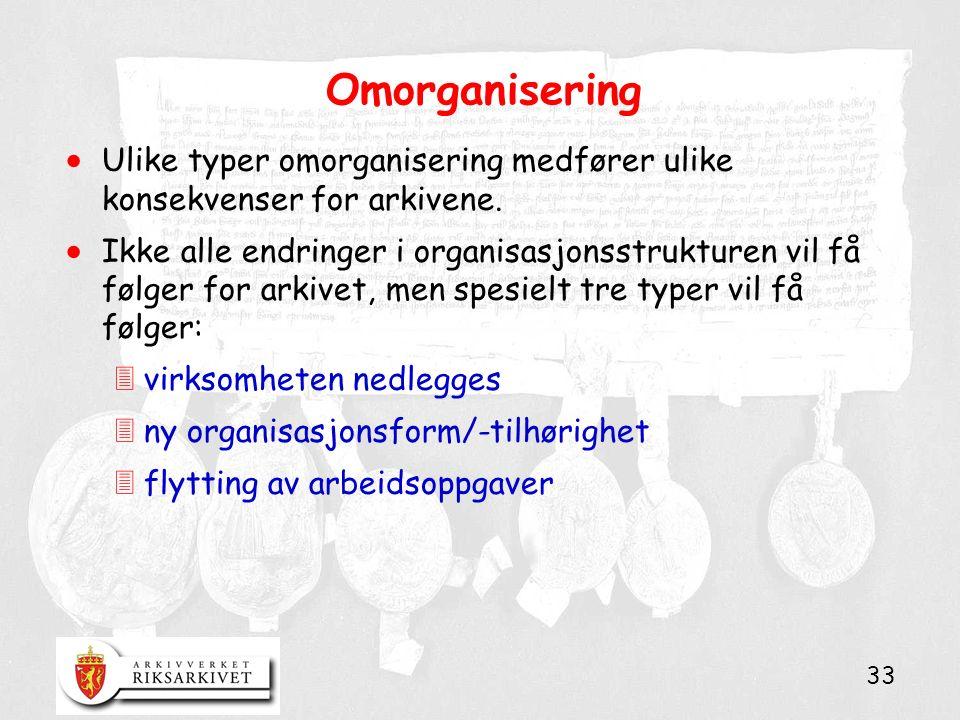 33 Omorganisering  Ulike typer omorganisering medfører ulike konsekvenser for arkivene.  Ikke alle endringer i organisasjonsstrukturen vil få følger