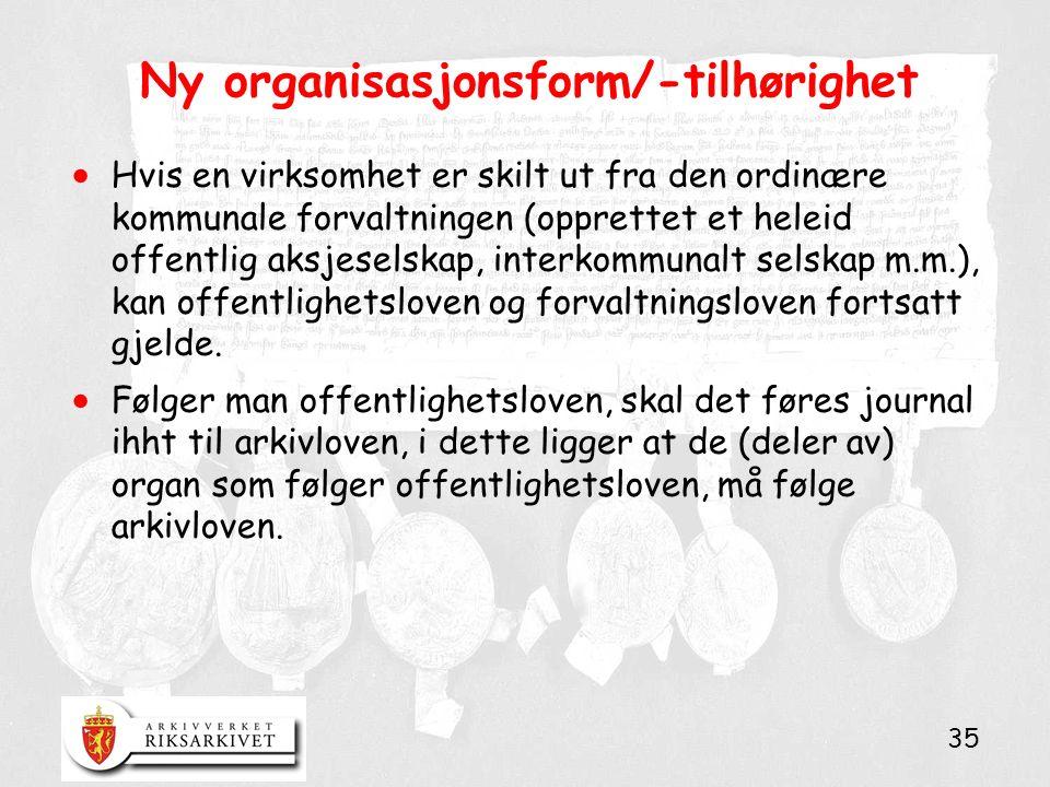 35 Ny organisasjonsform/-tilhørighet  Hvis en virksomhet er skilt ut fra den ordinære kommunale forvaltningen (opprettet et heleid offentlig aksjesel