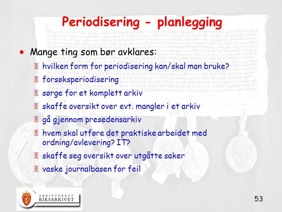 53 Periodisering - planlegging  Mange ting som bør avklares: 3hvilken form for periodisering kan/skal man bruke? 3forsøksperiodisering 3sørge for et