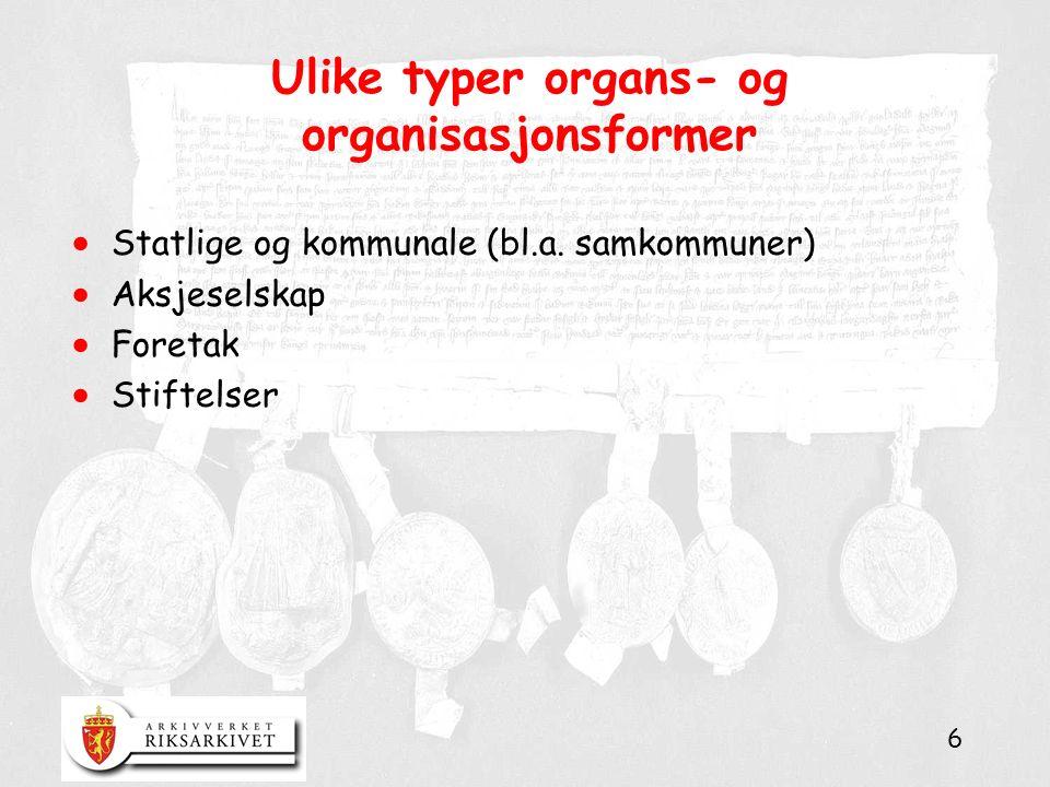 6 Ulike typer organs- og organisasjonsformer  Statlige og kommunale (bl.a. samkommuner)  Aksjeselskap  Foretak  Stiftelser
