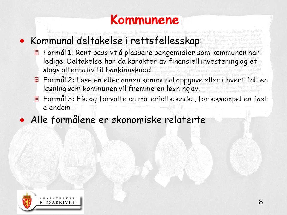 8 Kommunene  Kommunal deltakelse i rettsfellesskap: 3Formål 1: Rent passivt å plassere pengemidler som kommunen har ledige.