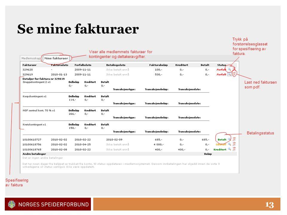 Click to edit Master title style 13 Se mine fakturaer Trykk på forstørrelsesglasset for spesifisering av faktura.