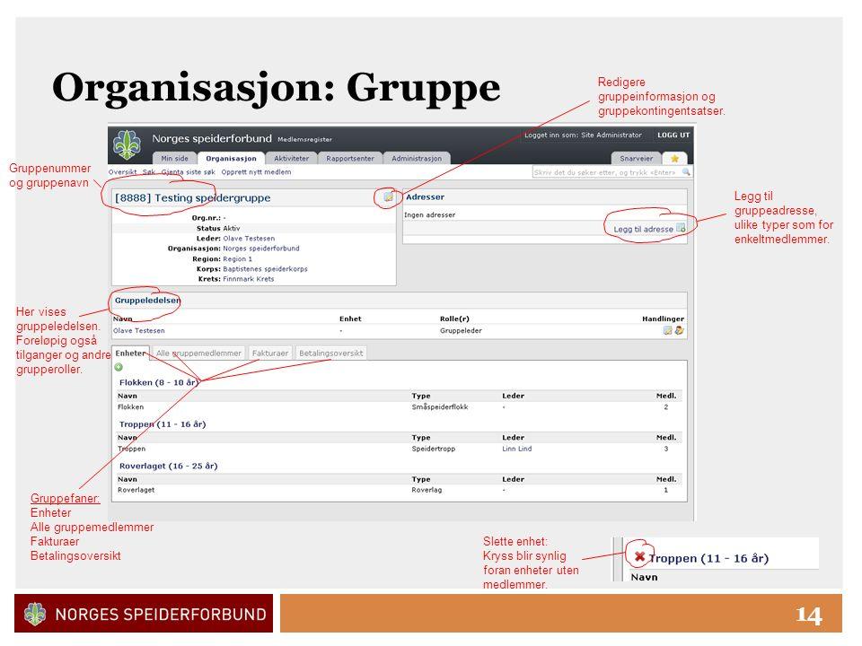 Click to edit Master title style 14 Organisasjon: Gruppe Gruppenummer og gruppenavn Redigere gruppeinformasjon og gruppekontingentsatser.