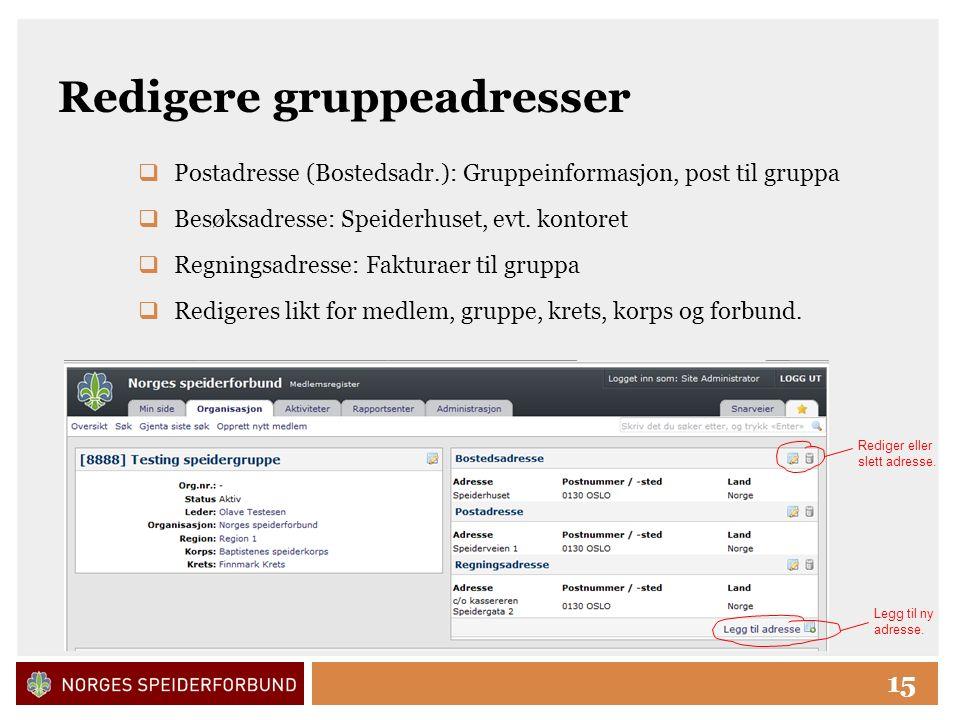 Click to edit Master title style 15 Redigere gruppeadresser  Postadresse (Bostedsadr.): Gruppeinformasjon, post til gruppa  Besøksadresse: Speiderhuset, evt.