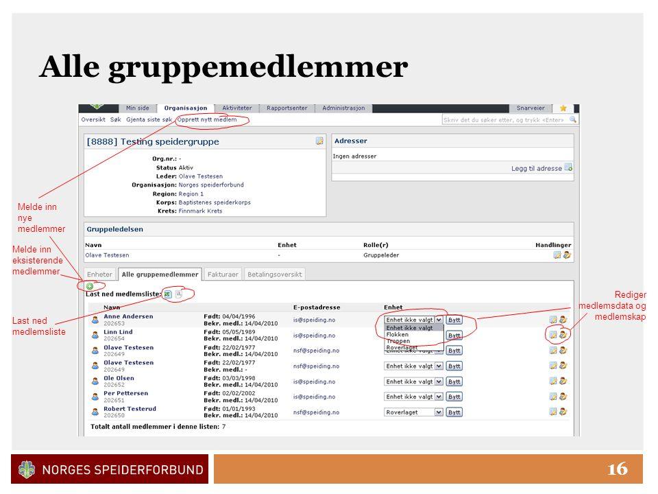 Click to edit Master title style 16 Alle gruppemedlemmer Melde inn nye medlemmer Last ned medlemsliste Rediger medlemsdata og medlemskap Melde inn eksisterende medlemmer
