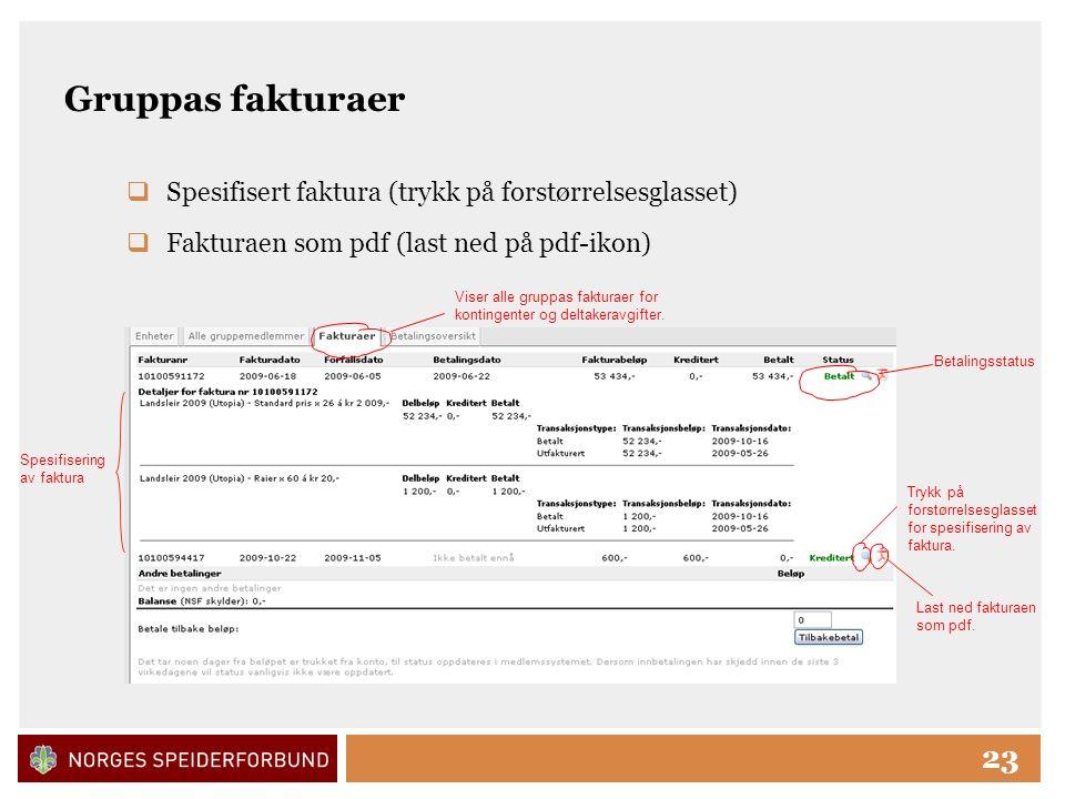 Click to edit Master title style 23 Gruppas fakturaer  Spesifisert faktura (trykk på forstørrelsesglasset)  Fakturaen som pdf (last ned på pdf-ikon) Spesifisering av faktura Viser alle gruppas fakturaer for kontingenter og deltakeravgifter.