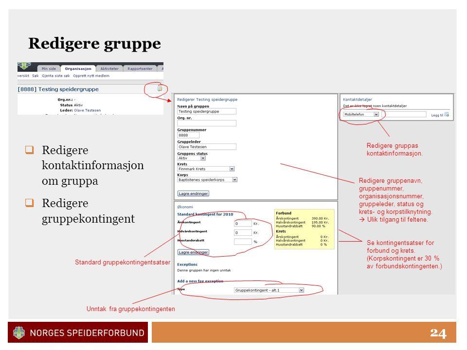 Click to edit Master title style 24 Redigere gruppe  Redigere kontaktinformasjon om gruppa  Redigere gruppekontingent Redigere gruppas kontaktinformasjon.