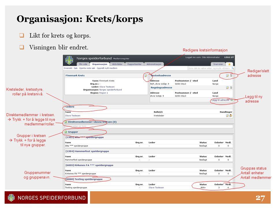 Click to edit Master title style 27 Organisasjon: Krets/korps Redigere kretsinformasjon Rediger/slett adresse Direktemedlemmer i kretsen.