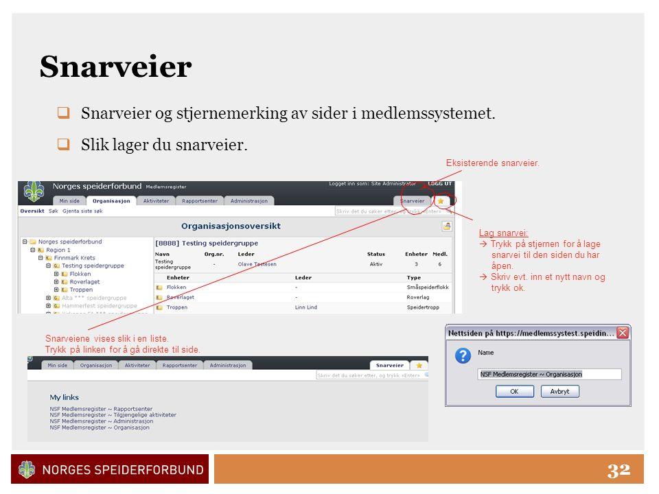 Click to edit Master title style 32 Snarveier  Snarveier og stjernemerking av sider i medlemssystemet.