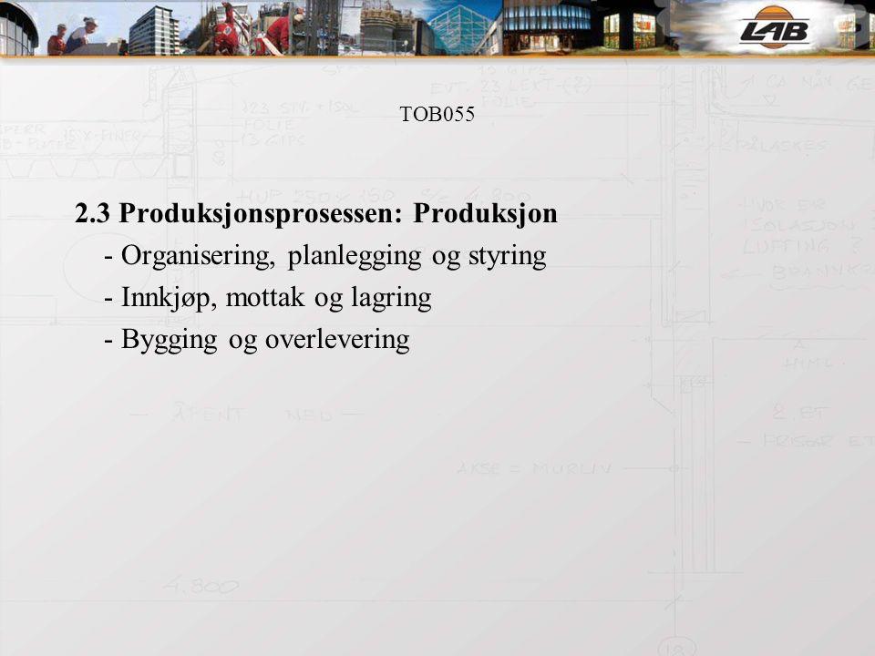 TOB055 2.3 Produksjonsprosessen: Produksjon - Organisering, planlegging og styring - Innkjøp, mottak og lagring - Bygging og overlevering
