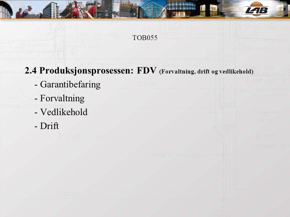 TOB055 2.4 Produksjonsprosessen: FDV (Forvaltning, drift og vedlikehold) - Garantibefaring - Forvaltning - Vedlikehold - Drift