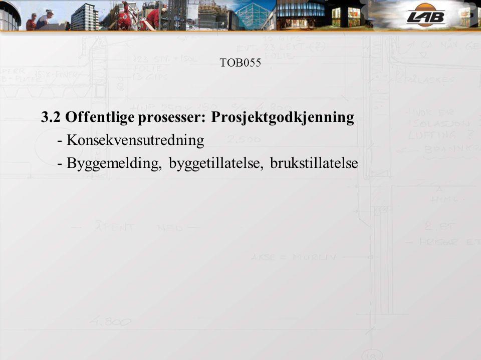 TOB055 3.2 Offentlige prosesser: Prosjektgodkjenning - Konsekvensutredning - Byggemelding, byggetillatelse, brukstillatelse
