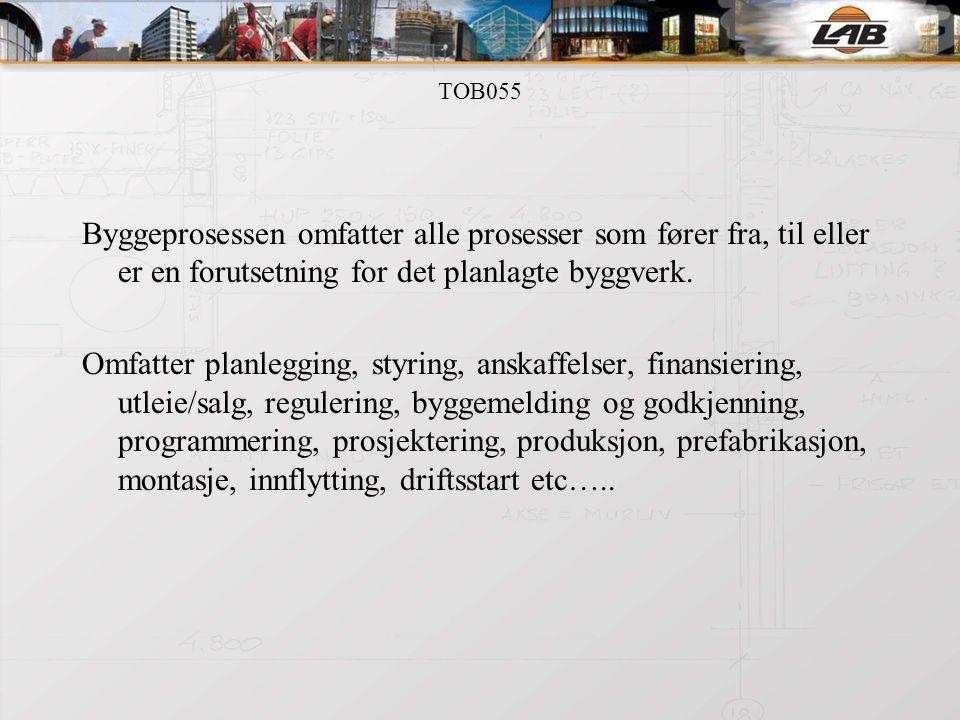 TOB055 Byggeprosessen omfatter alle prosesser som fører fra, til eller er en forutsetning for det planlagte byggverk.