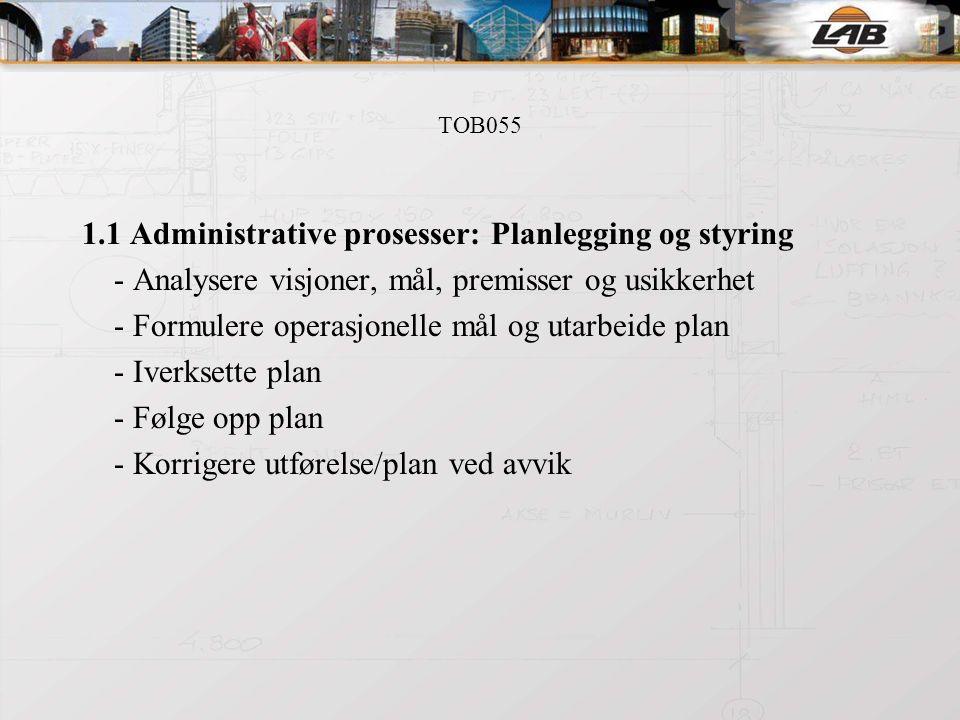 TOB055 1.1 Administrative prosesser: Planlegging og styring - Analysere visjoner, mål, premisser og usikkerhet - Formulere operasjonelle mål og utarbeide plan - Iverksette plan - Følge opp plan - Korrigere utførelse/plan ved avvik