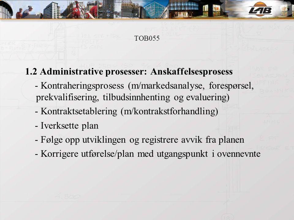 TOB055 1.2 Administrative prosesser: Anskaffelsesprosess - Kontraheringsprosess (m/markedsanalyse, forespørsel, prekvalifisering, tilbudsinnhenting og evaluering) - Kontraktsetablering (m/kontrakstforhandling) - Iverksette plan - Følge opp utviklingen og registrere avvik fra planen - Korrigere utførelse/plan med utgangspunkt i ovennevnte