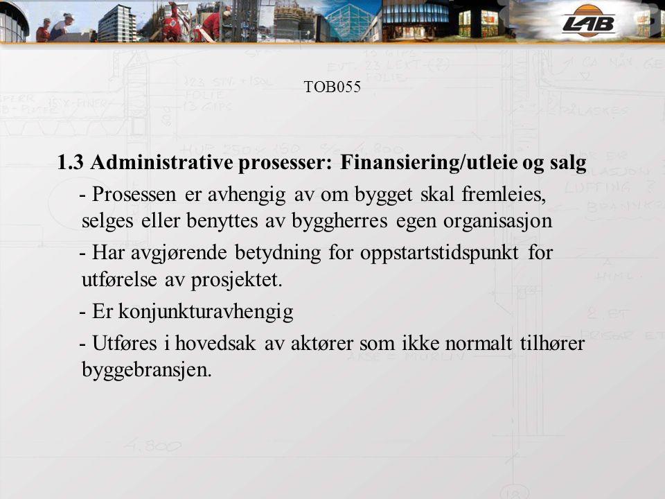 TOB055 1.3 Administrative prosesser: Finansiering/utleie og salg - Prosessen er avhengig av om bygget skal fremleies, selges eller benyttes av byggherres egen organisasjon - Har avgjørende betydning for oppstartstidspunkt for utførelse av prosjektet.