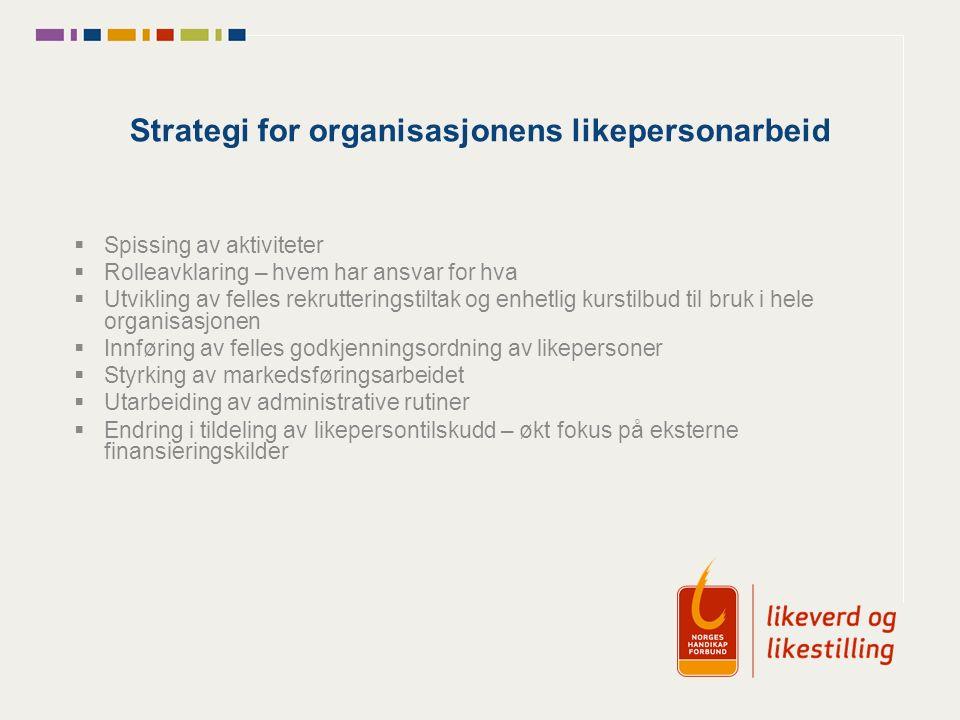 Strategi for organisasjonens likepersonarbeid  Spissing av aktiviteter  Rolleavklaring – hvem har ansvar for hva  Utvikling av felles rekrutterings
