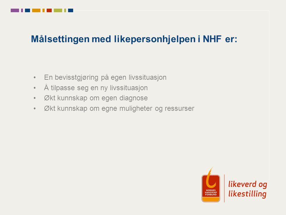 Målsettingen med likepersonhjelpen i NHF er: En bevisstgjøring på egen livssituasjon Å tilpasse seg en ny livssituasjon Økt kunnskap om egen diagnose