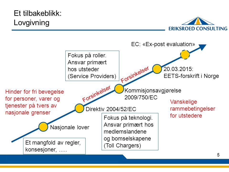 5 Et tilbakeblikk: Lovgivning Nasjonale lover Hinder for fri bevegelse for personer, varer og tjenester på tvers av nasjonale grenser Direktiv 2004/52/EC Kommisjonsavgjørelse 2009/750/EC 20.03.2015: EETS-forskrift i Norge EC: «Ex-post evaluation» Et mangfold av regler, konsesjoner,.....