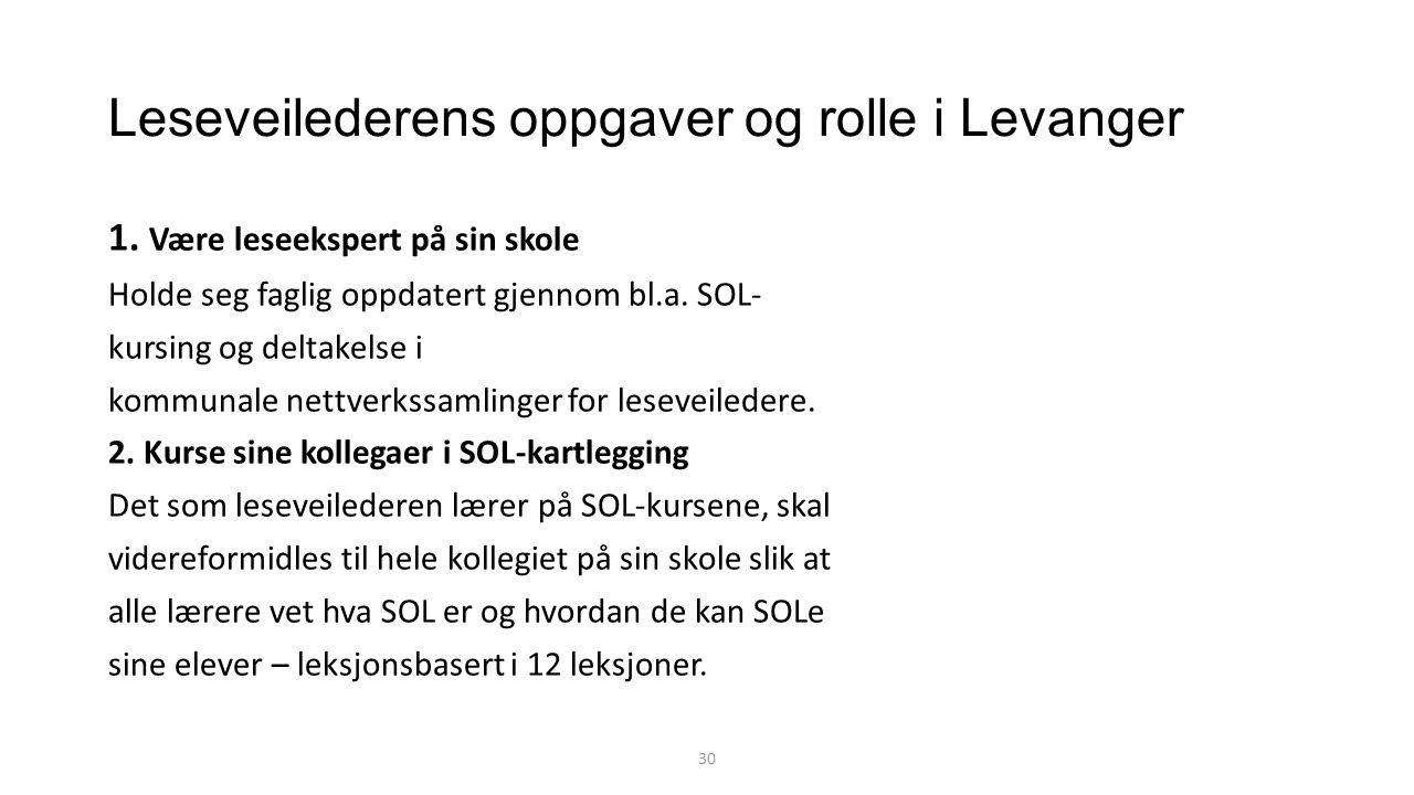 Leseveilederens oppgaver og rolle i Levanger 1.