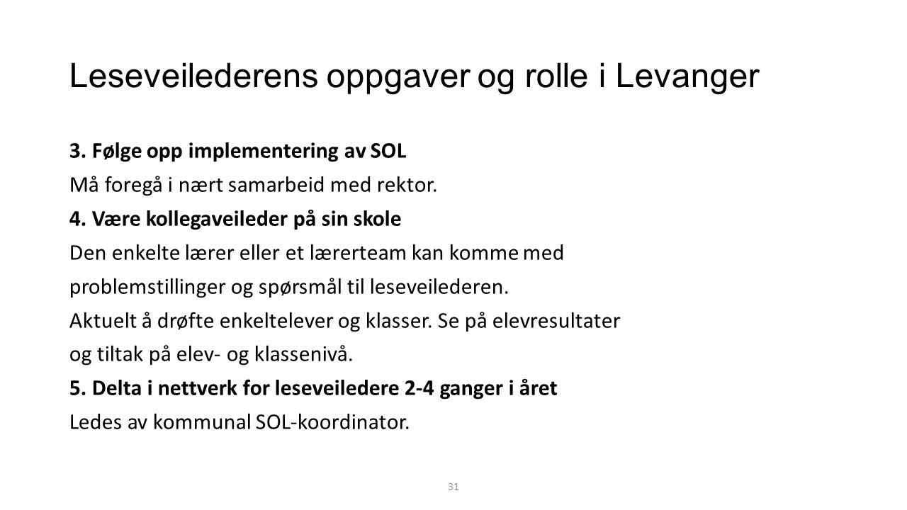 Leseveilederens oppgaver og rolle i Levanger 3.