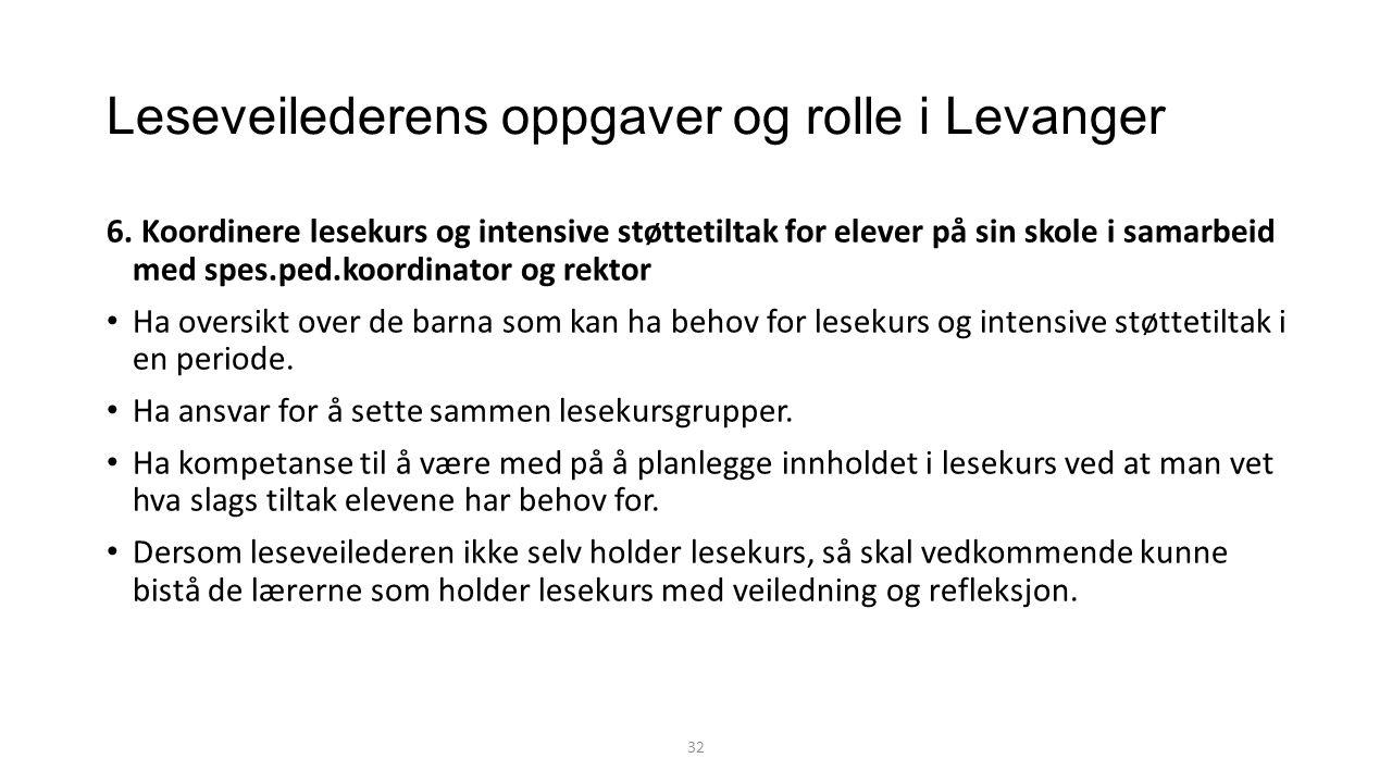 Leseveilederens oppgaver og rolle i Levanger 6.