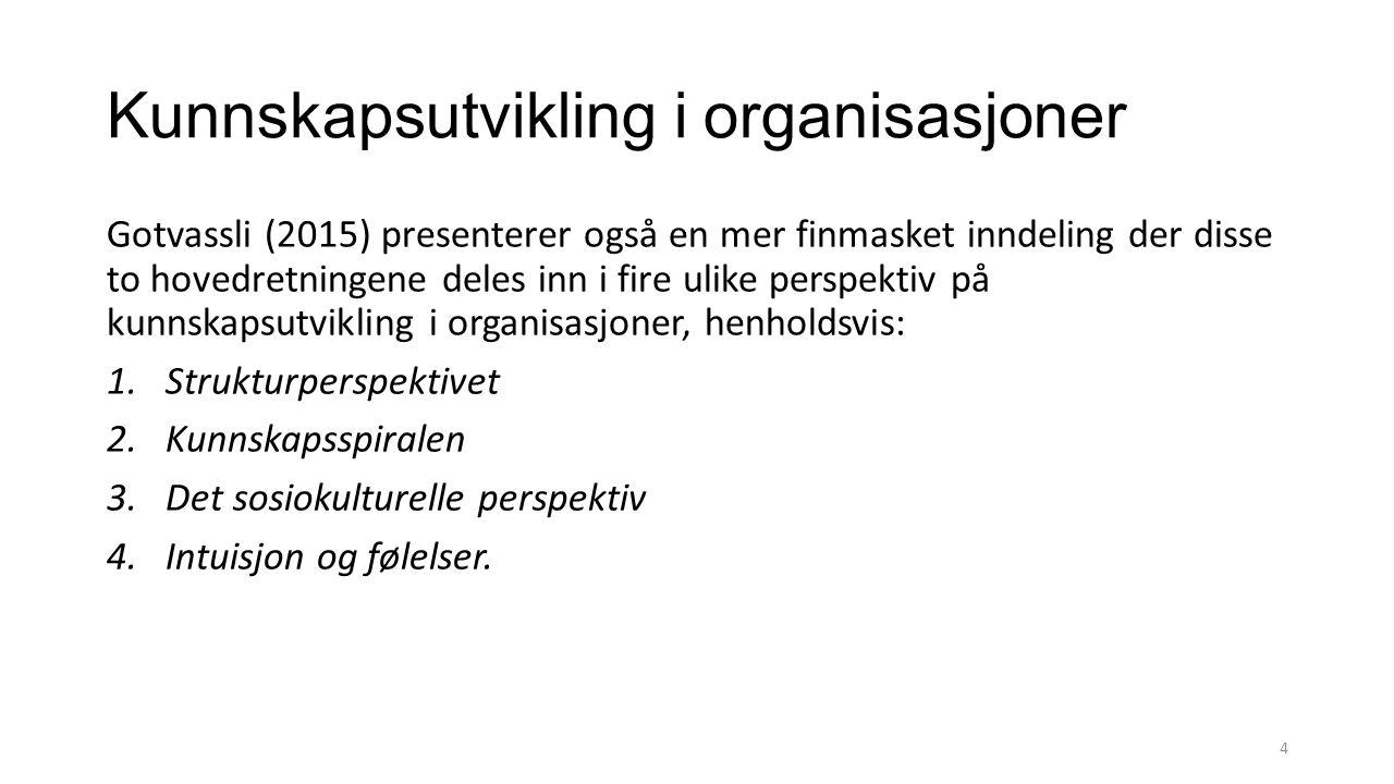 Kunnskapsutvikling i organisasjoner Gotvassli (2015) presenterer også en mer finmasket inndeling der disse to hovedretningene deles inn i fire ulike perspektiv på kunnskapsutvikling i organisasjoner, henholdsvis: 1.Strukturperspektivet 2.Kunnskapsspiralen 3.Det sosiokulturelle perspektiv 4.Intuisjon og følelser.