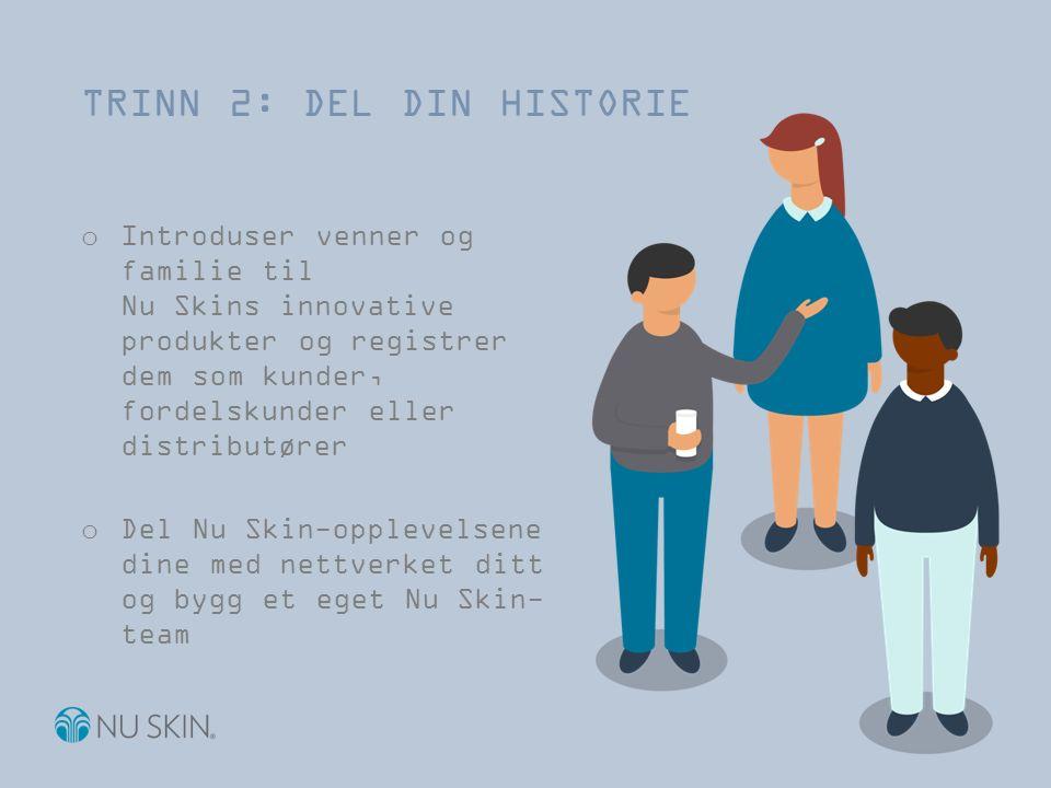 o Introduser venner og familie til Nu Skins innovative produkter og registrer dem som kunder, fordelskunder eller distributører o Del Nu Skin-opplevelsene dine med nettverket ditt og bygg et eget Nu Skin- team TRINN 2: DEL DIN HISTORIE