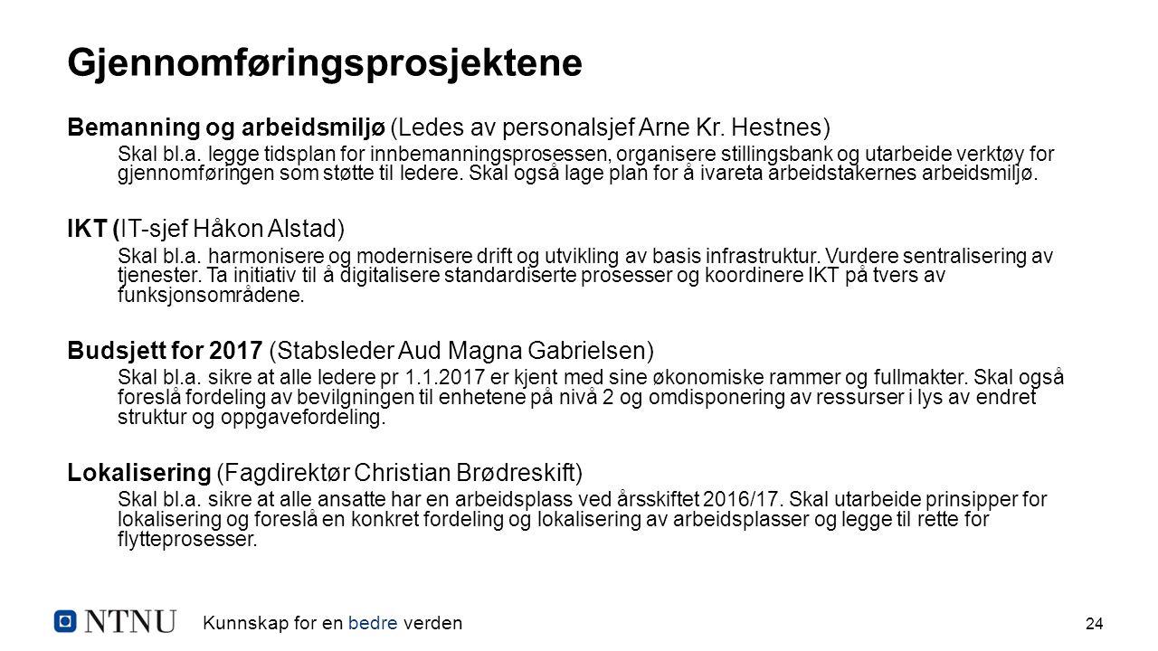 Kunnskap for en bedre verden 24 Gjennomføringsprosjektene Bemanning og arbeidsmiljø (Ledes av personalsjef Arne Kr. Hestnes) Skal bl.a. legge tidsplan