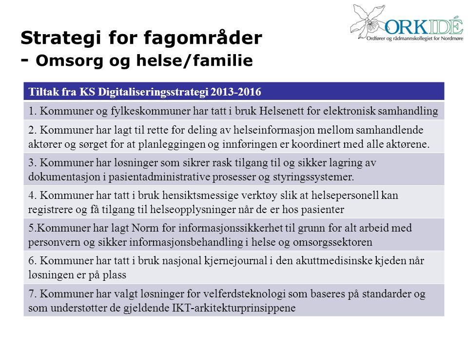 Strategi for fagområder - Omsorg og helse/familie Tiltak fra KS Digitaliseringsstrategi 2013-2016 1. Kommuner og fylkeskommuner har tatt i bruk Helsen