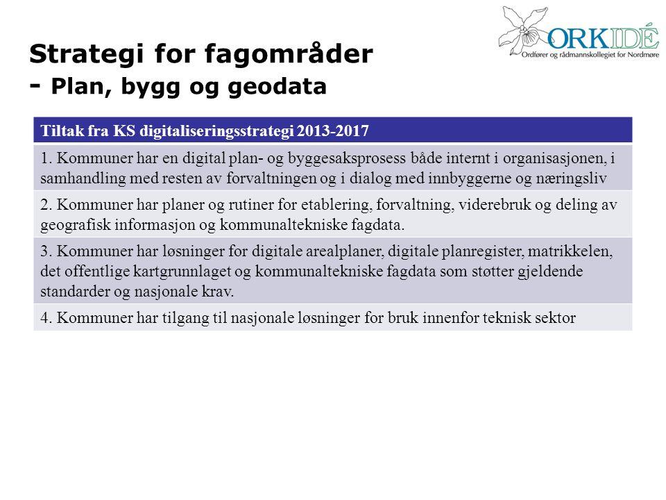 Strategi for fagområder - Plan, bygg og geodata Tiltak fra KS digitaliseringsstrategi 2013-2017 1. Kommuner har en digital plan- og byggesaksprosess b