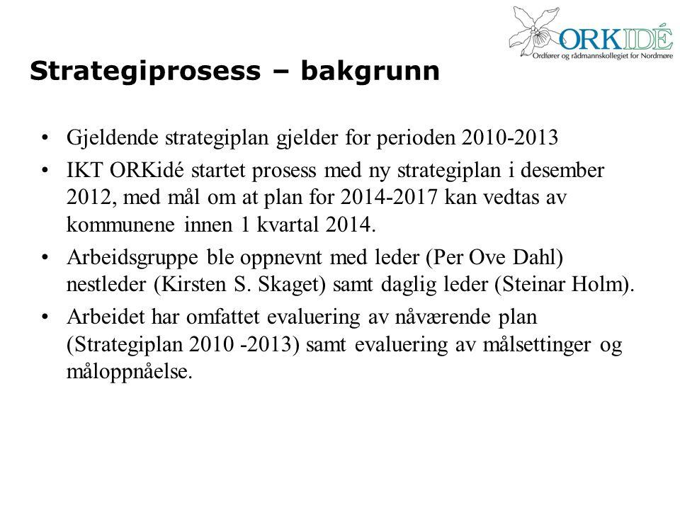 Strategiprosess – bakgrunn Gjeldende strategiplan gjelder for perioden 2010-2013 IKT ORKidé startet prosess med ny strategiplan i desember 2012, med mål om at plan for 2014-2017 kan vedtas av kommunene innen 1 kvartal 2014.