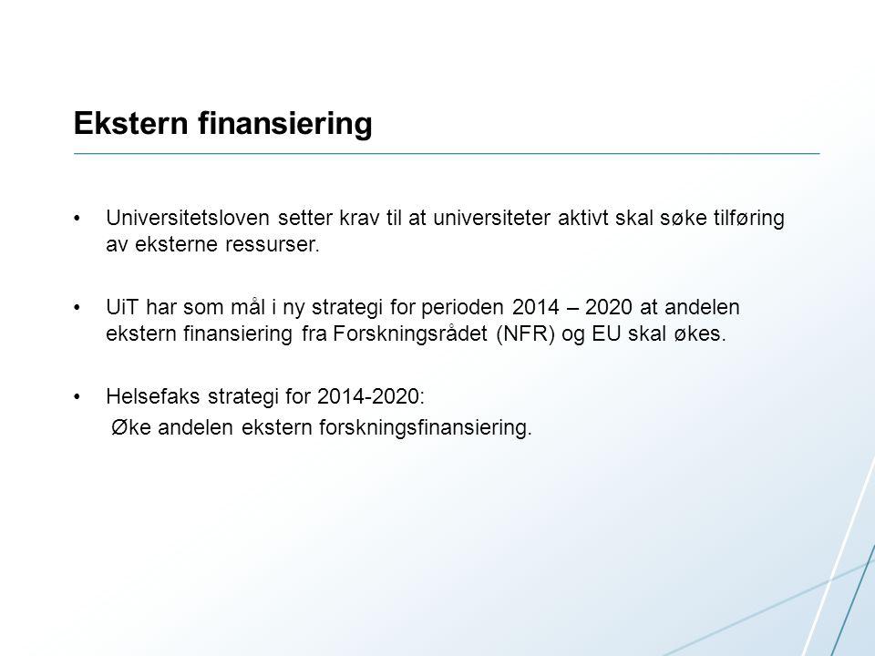 Ekstern finansiering Universitetsloven setter krav til at universiteter aktivt skal søke tilføring av eksterne ressurser.