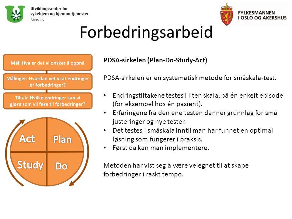 Forbedringsarbeid PDSA-sirkelen (Plan-Do-Study-Act) PDSA-sirkelen er en systematisk metode for småskala-test.